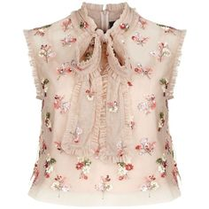 Needle & Thread Ditsy Bow Tie Neck Crop Top ($175) ❤ liked on Polyvore featuring tops, blouses, pink ruffle blouse, tie-neck blouses, flower blouse, neck ties and sequin blouse