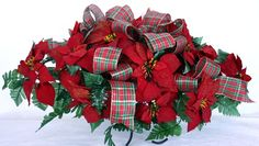 Holiday Christmas Red Poinsettia Silk Flower Cemetery Tombstone Saddle, $39.99
