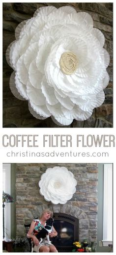 GIANT coffee filter flower - the base is a hula hoop! Perfect for showers & party decor #CoffeeFilters