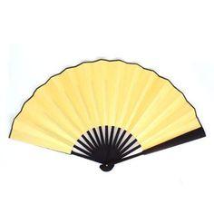 """Women Men Wood Handle Fabric Folding Hand Fan Yellow 13"""" Length - Walmart.com"""