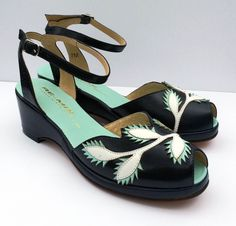 """Remix Vintage Flora - Ankle strap wedge with leafy leather cut-out appliques on the vamp and contrasting insole. Leather uppers with leather soles Whole sizes, 5-11 Medium widths 2"""""""
