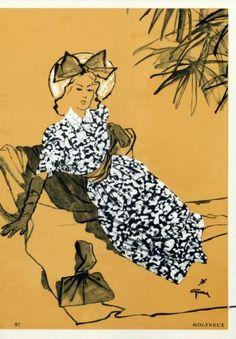 Molyneux 1945  Summer Dress, René Gruau