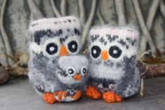 Cozy little Family of Owls Parent Owls holding little by woolcrazy, $40.00