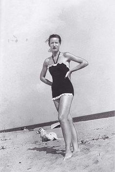 Little Edie, and Spot take to Georgica Beach, 1951.