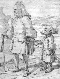 """Dr. James Hay als """"bear-leader"""", Radierung von Pier Leone Ghezzi, 1725"""