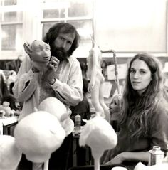 Jim Henson and Wendy Miderer in Jim Henson's Creature Shop in New York