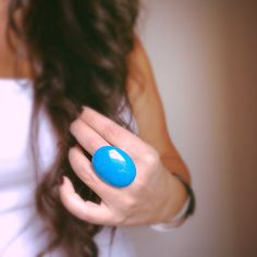 Turquoise Ring Blue Howlite Ring Big Stone Ring by TesoroDelSol