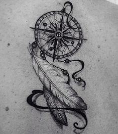 Dreamcatcher compass feather tattoo <3