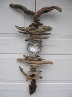 Driftwood Mobile With Abalone Shell (DC824)