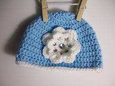 Crochet Jewel Flower Baby Beanie Photo Props / Girls hat  / Etsy Baby / Crochet Bebe / Handmade gift ideas. $23.00, via Etsy.