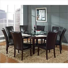 Steve Silver Company Hartford 72 Inch Round Casual Dining Table in Dark Cherry
