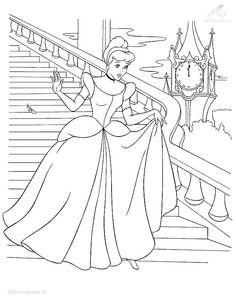 Kleurplaat Prinses Assepoester verliest schoentje / coloring sheet Cinderella