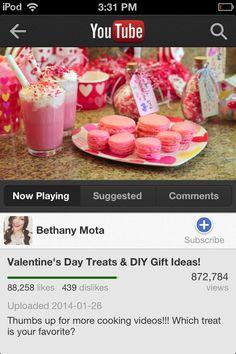 Bethany Mota's valentine's day baking video. Macaroons, milkshakes, brownies and valentine gift ideas.