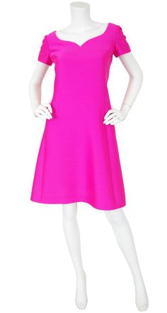Adele Simpson 1960's Mod Hot Pink Silk A-Line Dress. Available on Featherstone Vintage.