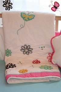 Pink Chenille Flowers Baby Bedding Set