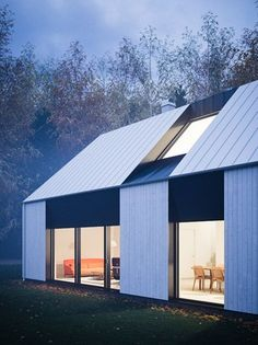 Beautiful modern prefab home that reflects the Swedish vernacular house with its gabled roof shape designed for a couple or family by Claesson Koivisto Rune Architecture Durable, Residential Architecture, Amazing Architecture, Architecture Design, Sustainable Architecture, Modern Barn, Modern Farmhouse, Roof Design, Exterior Design