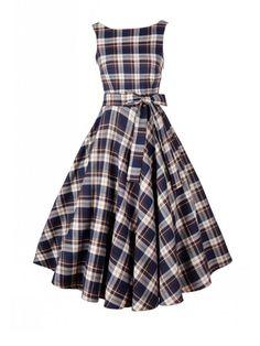 kup Sukienka maxi vintage w kratkę & Sukienki - w Jollychic