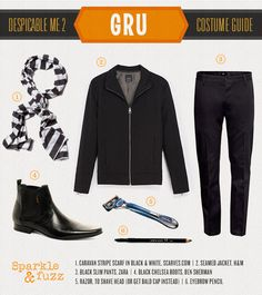 Gru Despicable Me Halloween Costume DIY. Great costume for dads, boyfriends, husbands, and despicable beings!
