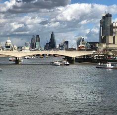 London skyline seen from Hungerford Bridge.