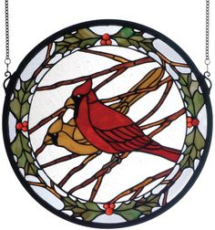 Stained Glass Cardinal Pattern | Cardinals & Holly Medallion Stained Glass Windows
