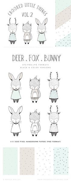 Set of 3 hand drawn animal characters + 4 matching hand drawn seamless patterns. Great for greeting cards, stickers, clothing etc. Contents: - 3 x Full Color Animal Characters in eps, png +
