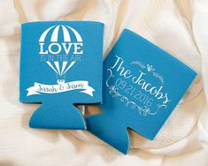 Hot Air Balloon Wedding Can Cooler , Personalized Wedding Favor, Love is in the Air, Blue Wedding Favor