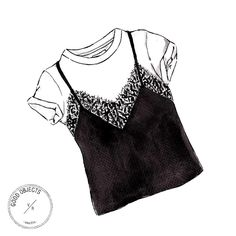Good objects - Trending: White Tshirt + black lace top #goodobjects #illustration