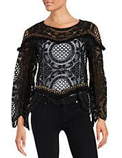 DESIGN LAB Chic Unique Stud-Embellished Lace Top Lord and Taylor