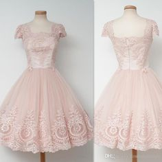 Lace Vintage Homecoming Dresses 2016 Square Neck Cap Sleeved Appliques Prom…