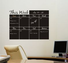Chalkboard calendar... I've been thinking of something similar to this for my office. #productivity
