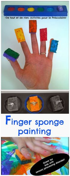 Finger sponge painting with sponge RINGS. Great for kids with sensory processing disorder and great for finger isolation Sensory Art, Sensory Activities, Activities For Kids, Toddler Art, Toddler Crafts, Preschool Crafts, Crafts For Kids, Preschool Colors, Crafts For 2 Year Olds
