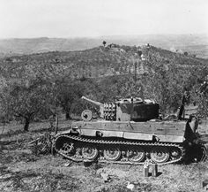 German Tiger tank photographed in Italy. *Note on back of file print reads: `one of the Regiments first actions in Italy - 18 NZ Bn'.