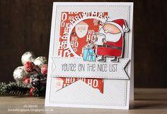 "Card christmas , santa, MFT Jingle all the Way Die-namics Card christmas scripty words in circle, santa, MFT Jingle all the Way Die-namics ""You´re on the nice list"" Christmas Cards 2017, Christmas Wishes, Xmas Cards, Mft Stamps, Jingle All The Way, I Card, Cardmaking, Santa, Challenges"