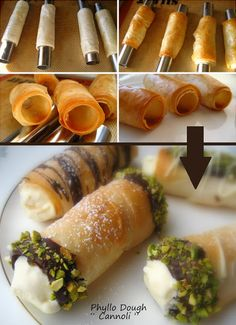 Fillo Dough Ice Cream Cannolis are a summer #dessert everyone will devour. Use this easy technique to make a crunchy shell you can fill with anything you like.