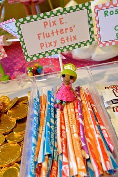 Pixie sticks at a LalaLoopsy Birthday Party!  See more party ideas at CatchMyParty.com!