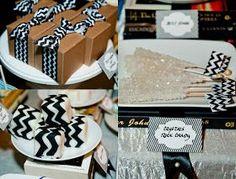In Flight: Book Party  Dessert Table Library  Chevron Desserts Chevron Petit Fours Black and White Desserts
