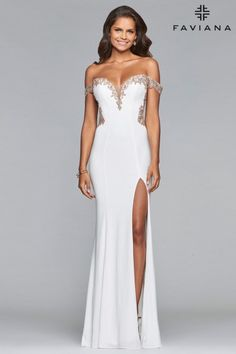 Faviana Glamour S10001 Off the Shoulder Prom Gown