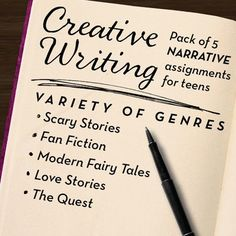 $- Creative Writing pack of 5 activities for secondary English class - fan fiction, scary stories, love stories, modern fairy tales, and quests! Write multiple genres with rubrics, prompts, and story starters!