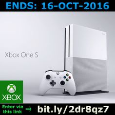 ENDS 16-OCT-2016  --  #Win an #XBox One S >bit.ly/2dr8qz7< #competition #giveaway #sweepstakes #XboxOneS #gaming #microsoft