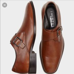 MENS brown dress shoes! Great brownish tan color leather dress shoe with buckle.Worn a handful of times and they need to be resoled. JM Murphy by Johnston and Murphy Shoes Flats & Loafers