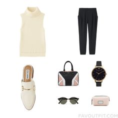 Outfit Mix And Match Including Uniqlo Vest Tapered Trouser Steve Madden Loafers And Colorblock Purse From September 2016 #outfit #look