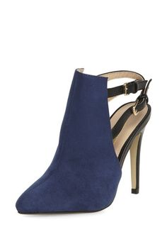 Navy high open back shoe boots