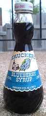 Oh wow, I remember the bottles being this shape. :)   ...Vintage Smucker's Blueberry Syrup Jar Bottle