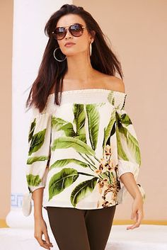 Off the shoulder palm print blouse from Boston Proper