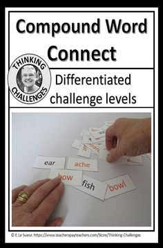 Word work for your language station for older students. Not grade specific. Students are challenged in this activity to create compound words with up to individual words to be connected to make compound words. Middle School, Back To School, Compound Words, Thematic Units, Upper Elementary, Word Work, Literacy Centers, Critical Thinking, Work On Yourself