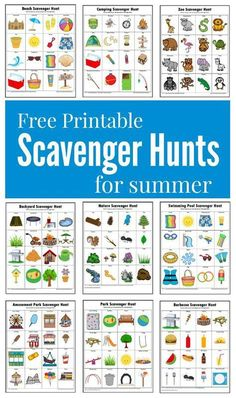 Hunts {Free Printables} These summer themed scavenger hunts will keep your kids busy and entertained this summer.These summer themed scavenger hunts will keep your kids busy and entertained this summer. Summer Activities For Kids, Summer Kids, Learning Activities, Preschool Activities, Games For Kids, Crafts For Kids, Family Activities, Kids Fun, Kids Summer Schedule