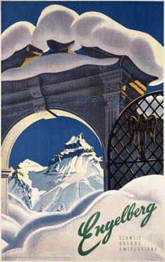 Engelberg vintage poster - My favorite ski resort :o) Vintage Ski Posters, Retro Poster, Poster Ads, Cool Posters, Engelberg Switzerland, Switzerland Tourism, Ski Switzerland, Evian Les Bains, Fürstentum Liechtenstein