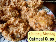 A skinny take on a childhood favorite: chunky monkey oatmeal cups made with @Chobani via @NutButterRunner