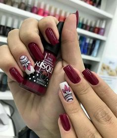 Brilliant Decoredo De Uñas for Your property Em Nails, Work Nails, Cute Acrylic Nails, Cute Nails, Pretty Nails, Burgundy Nail Art, Luxury Nails, Stylish Nails, French Nails