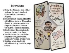 Here is a fun way to celebrate Martin Luther King Jr Day with your students. Just print the foldables for each student and let them write under the flaps and decorate for an awesome hall display. I have included a sign to display your students' work. 3rd Grade Social Studies, Social Studies Activities, Teaching Social Studies, Classroom Activities, Classroom Crafts, Classroom Ideas, Mlk Jr Day, Martin Luther King Day, Martin King